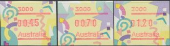 Australian Framas: Festive Button Set 45c, 70c, $1.20: Post Code 3000 Melbourne